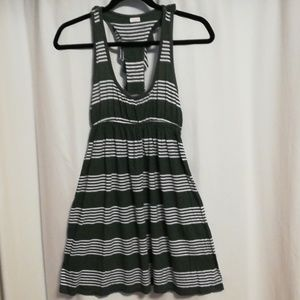 Striped ruffled racerback minidress